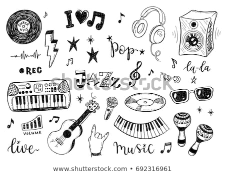 esboço · musical · ícone · música · voz · rabisco - foto stock © alexDanil