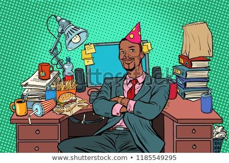 pop art businessman birthday, workplace Stock photo © studiostoks