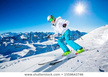 Meisje skiër winter illustratie sneeuw berg Stockfoto © adrenalina