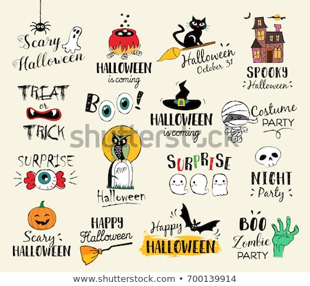 Cartoon Halloween design with mummy and bats Stock photo © TasiPas
