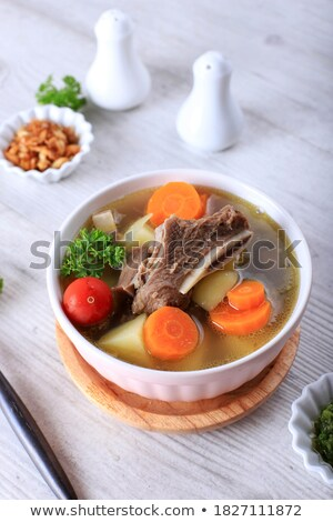 Carne sopa de legumes madeira fundo vegetal batata Foto stock © M-studio