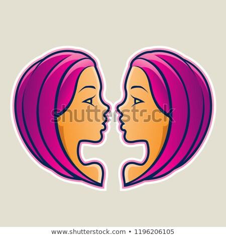 Magenta Gemini or Twins Icon Vector Illustration Stock photo © cidepix