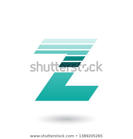 Persian Green Sliced Letter Z with Thick Horizontal Stripes Vect Stock photo © cidepix