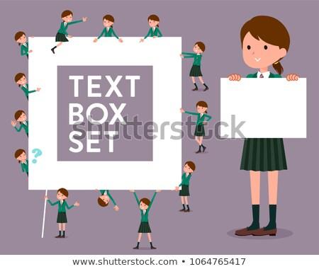 Iskolás lány zöld blézer szöveg doboz szett Stock fotó © toyotoyo