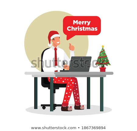 Cartoon glimlachend man pyjama Stockfoto © cthoman
