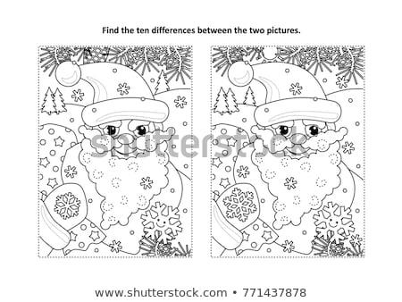 farklılıklar · oyun · noel · baba · renk · kitap · siyah · beyaz - stok fotoğraf © izakowski