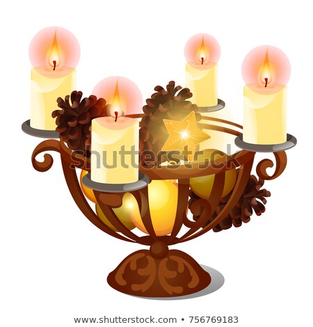 Christmas sketch with burning candles in iron candle holder with festive natural decorations and glo Stock photo © Lady-Luck