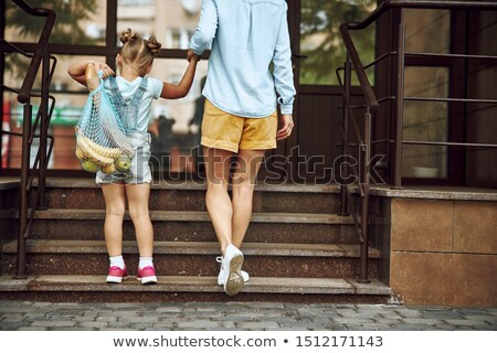 Stockfoto: Winkelen · dochter · moeder · lopen · zakken · vector