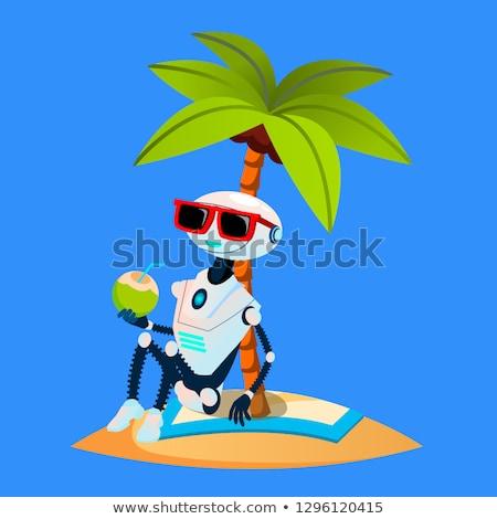 Robot tatil palmiye plaj vektör yalıtılmış Stok fotoğraf © pikepicture