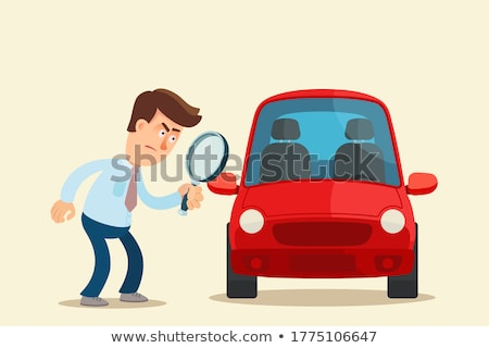 Person Looking Red Car Through Magnifying Glass Stock photo © AndreyPopov