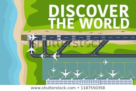 Modern repülőgép égbolt repülőtér el leszállás Stock fotó © galitskaya