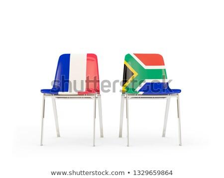 Iki sandalye bayraklar Fransa Güney Afrika yalıtılmış Stok fotoğraf © MikhailMishchenko