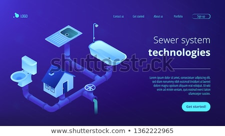 Sewerage system concept isometric 3D landing page. Stock photo © RAStudio