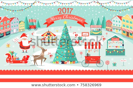 Noel adil pazar sokak dükkanlar vektör Stok fotoğraf © robuart