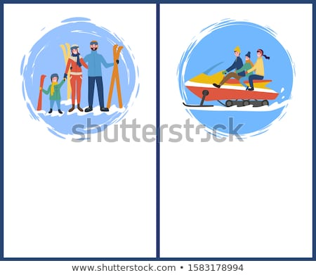 Family Skiing Snowmobiling Hobby in Winter Season Stock photo © robuart