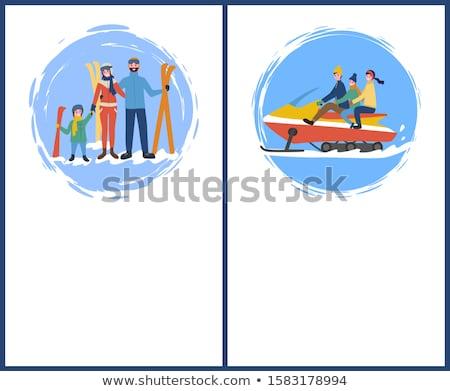 family skiing snowmobiling hobby in winter season stock photo © robuart