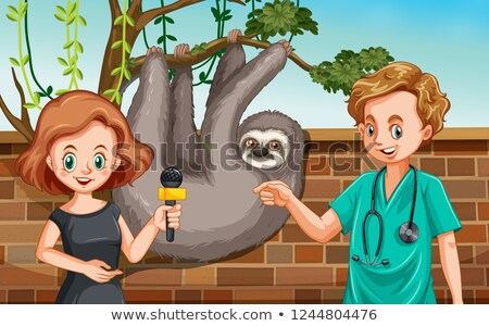 Vétérinaire entrevue zoo illustration affaires arbre Photo stock © colematt
