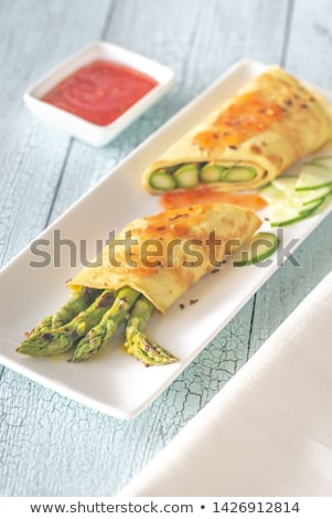 Coconut crepes with grilled asparagus Stock photo © Alex9500