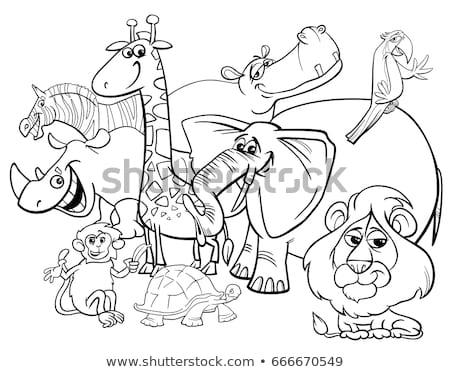 Boldog majmok betűk csoport szín könyv Stock fotó © izakowski