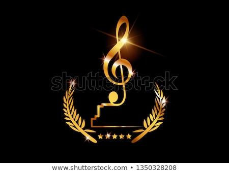 Notas musicais dourado troféu prêmio cantora microfone Foto stock © robuart