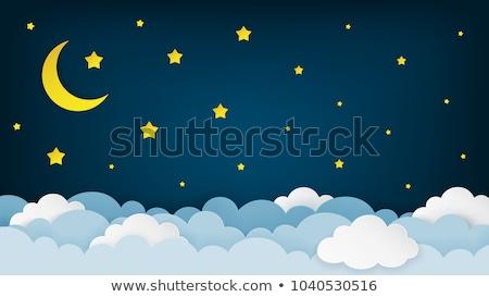 Sticker maan cartoon Geel glimlach gelukkig Stockfoto © cidepix