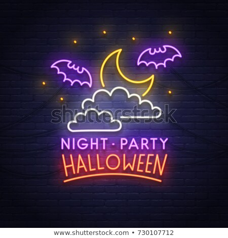 halloween neon letterings set stock photo © voysla