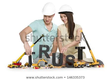 Confie jovem sorridente casal edifício Foto stock © lichtmeister