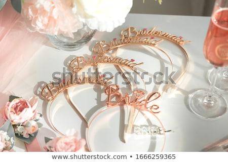 Table set for bachelorette party with glasses of champagne Stock photo © ruslanshramko