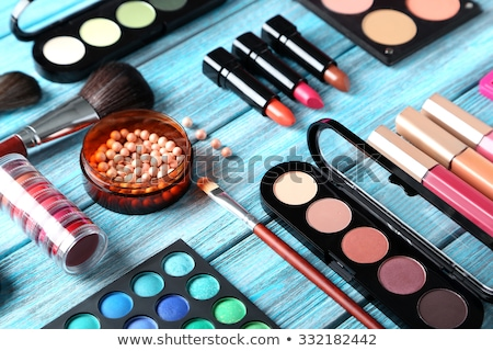 Eyeshadow palette and make-up brush on blush pink background, ey Stock photo © Anneleven