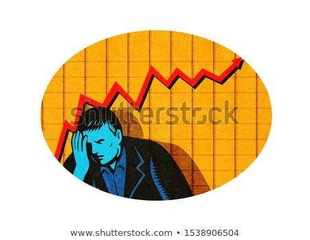 Depressed Businessman Upward Line Graph Oval Retro Stock photo © patrimonio
