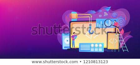 App oprogramowania rozwoju wektora metafory smartphone Zdjęcia stock © RAStudio