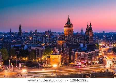 cityscape of Amsterdam at night Stock photo © neirfy