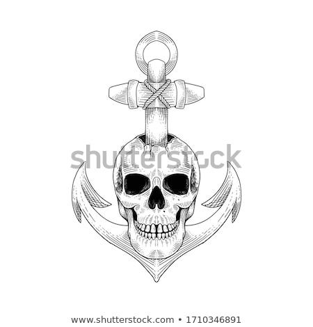 Sketch pirate skull with anchor Stock photo © netkov1