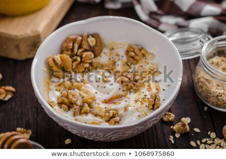 milk with chia seeds and banana Stock photo © tycoon