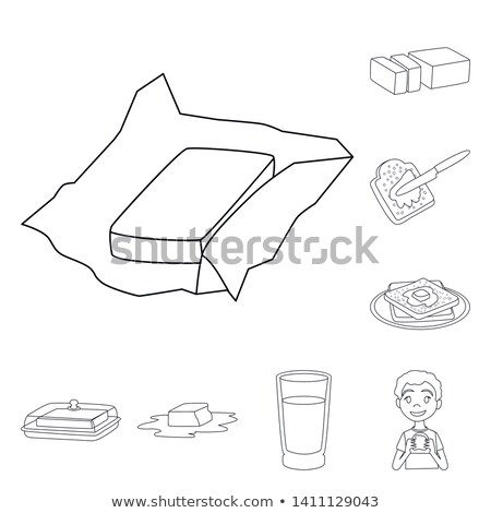 toast with melting butter icon vector outline illustration Stock photo © pikepicture