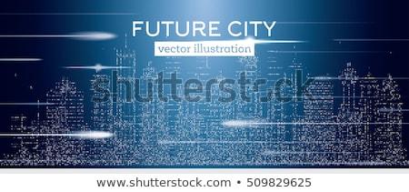 Grande cidade néon arranha-céus flash Foto stock © ShustrikS