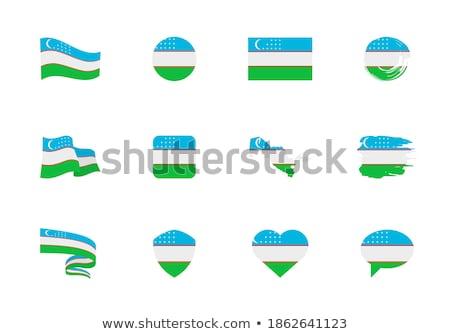 Zászló Üzbegisztán forma szív felirat szeretet Stock fotó © butenkow