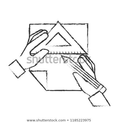 グラフィック デザイナー 手 鉛筆 定規 三角形 ストックフォト © yupiramos
