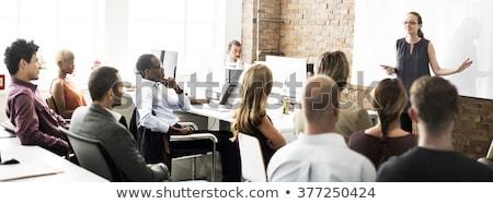 Emberek iroda beszállás szoba partnerek kézfogás Stock fotó © robuart