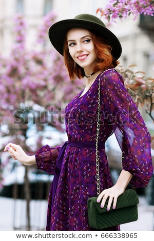 Lila ruha csinos szőke nő nő lány Stock fotó © disorderly