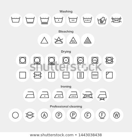 Lavaggio tessili simboli etichette badge Foto d'archivio © orson