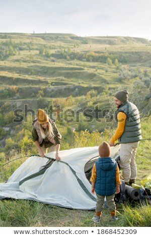 Father and son in front of their tent Stock photo © photography33