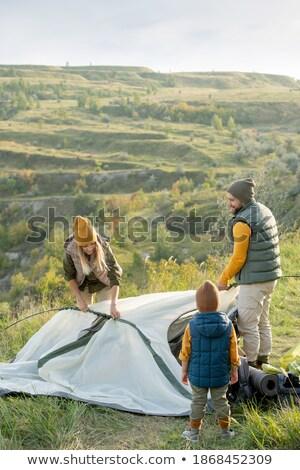 Baba oğul çadır aile sevmek çim mutlu Stok fotoğraf © photography33