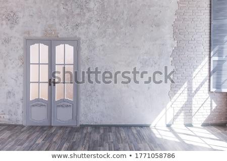 gris · mur · porte · fond · usine · rouille - photo stock © rufous