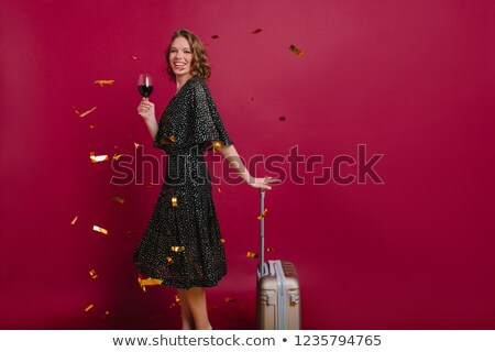 Brunette bagage vrouw luchthaven zak Stockfoto © photography33