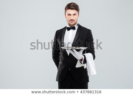 официант · человека · молодые · улыбаясь · изолированный · белый - Сток-фото © Kurhan