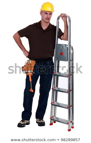 Haughty tradesman posing with a stepladder Stock photo © photography33