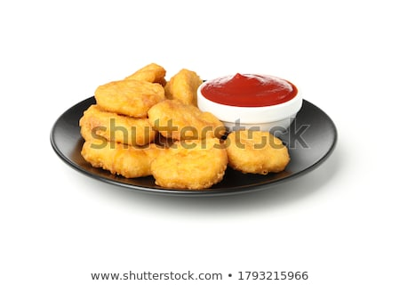 Stock photo: isolated plate of nuggets with ketchup