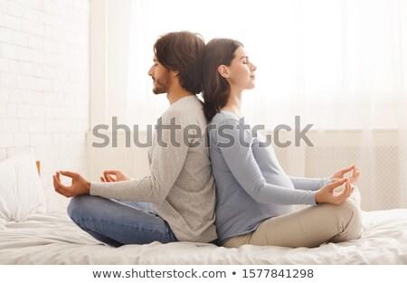 yoga · cama · espacio · de · la · copia · junto · mano - foto stock © wavebreak_media