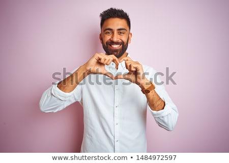 Ritratto giovane a forma di cuore sorriso felice sfondo Foto d'archivio © Massonforstock
